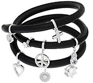 Diamonique Charm Leather Wrap Bracelet, Sterling - J321145