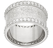 Italian Silver Sterling Diamonique Textured Band Ring - J321645
