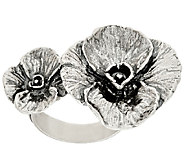 Sterling Silver Bold Double Flower Ring by Or Paz - J322745