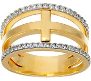 Diamonique Cross Band Ring, Sterling or 14K Clad - J326545