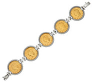 Italian Silver Sterling Authentic Lire Coin Bracelet - J326745