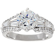 Diamonique Round & Baguette Bridal Ring, Platinum Clad - J328945