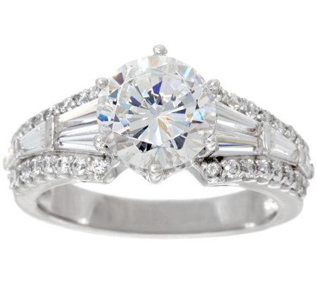 Diamonique Round Baguette Bridal Ring Platinum Clad
