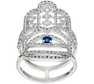 Luv Tia Sterling Sapphire & White Topaz Hamsa Ring - J330245
