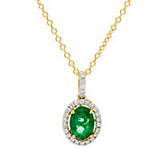 Ruby, Emerald or Sapphire & Diamond Pendant w/ Chain 14K, 0.90 ct - J331245