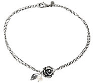 As Is Sterling Rose & Cultured Pearl Ankle Bracelet by Or Paz - J334245