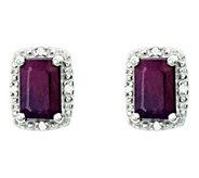 Sterling Emerald-Cut Fancy Stud Earrings w/ Diamond Accent - J336145