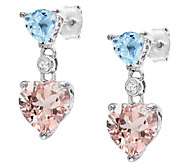 4.50cttw Blue Topaz & Morganite Heart Drop Earrings, Sterling - J337045