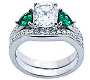 Diamonique & Simulated Gemstone Bridal Ring Set , Platinum Cla - J339945