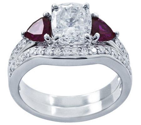Simulated Gemstone Bridal Ring Set Platinum Cla