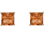 Princess-Cut Gemstone Basket Stud Earrings, 14K - J340345