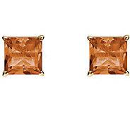 Princess-Cut Gemstone Basket Stud Earrings, 14K - J340345