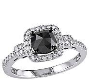 Cushion Black Halo Diamond Ring, 14K Gold, 1cttw, by Affinity - J340745