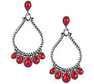American West Sterling Red Coral Large Pear Shaped Earrings - J341145