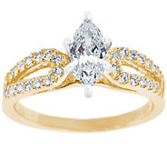 Curved Diamond Ring, 14K Gold 3/4 cttw, by Affi nity - J341445