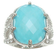 Judith Ripka Sterling Turquoise Doublet & Diamonique Ring - J341645