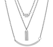 Stainless Steel Layered Geometric Necklace - J341745