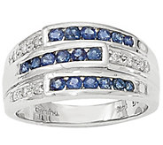 Sapphire and Diamond Band Ring, 14K White Gold - J342245