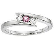 Sterling Clear & Pink Swarovski Topaz Circle ofStrength Ring - J344045