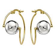 14K Gold Wire & Bead Two-tone Earrings - J344845