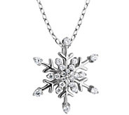 Diamonique Snowflake Pendant with 18 Chain, Sterling - J345745