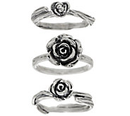 Sterling Silver Set of 3 Rose Stack Rings by Or Paz - J347845