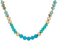 Simulated Turquoise & Goldtone Bead Necklace - J347945