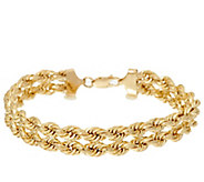 As Is 14K Gold 8 Polished Double Rope Bracelet, 7.5g - J348345