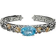 Barbara Bixby Sterling & 18K 10.00ct Blue Topaz Vine Cuff Bracelet - J349245