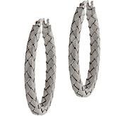 Sterling Silver Woven Texture Hoop Earrings by Silver Style - J350445