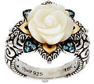 Barbara Bixby Sterling/18K Mother of Pearl & Blue Topaz Flower Ring - J350745