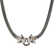 JAI Sterling Silver Figural Double Leopard Head Mesh Necklace - J351945
