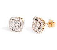 Cushion Cluster Diamond Stud Earrings, 14K, 1.00 cttw, by Affinity - J355045