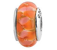 Prerogatives Sterling Orange Flower Glass Bead - J108846