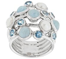 Milky Aqua, Cultured Pearl & Aquamarine Sterling Multi-row Ring
