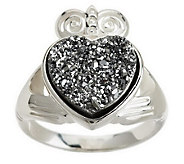 As Is JMH Jewellery Sterling Silver Claddagh Drusy Quartz Ring - J152746