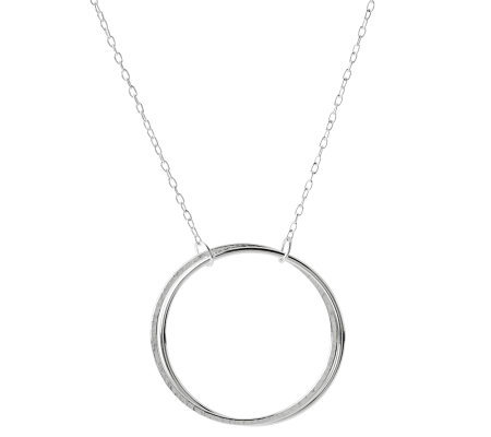 "Sterling 18"" Infinity Hammered Circle Necklace"