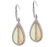 Golden Mother-of-Pearl & White Topaz Sterling Earrings - J279046