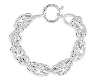 Sterling 6-3/4 Polished and Textured Status Link Bracelet, 27.6g - J290346