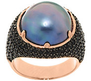 Bronze Cultured Mabe Pearl & 1.35 cttw Black Spinel Ring by Bronzo Italia - J291746