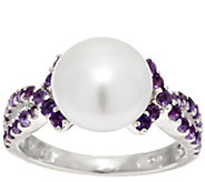 Honora Cultured Pearl 9.5mm and Gemstone Sterling Ring - J295446
