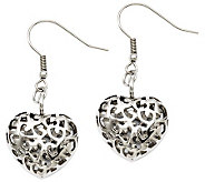 Stainless Steel Puffed Heart Dangle Earrings - J309146