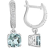 2.00 cttw Aquamarine & 1/10 cttw Diamond Earrings, Sterling - J311546