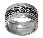 Sterling 10mm Wrought Iron Design Band Ring - J312046