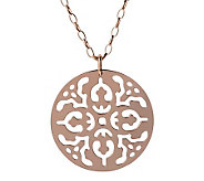 Bronzo Italia Cutout Disc Pendant with 36 OvalLink Chain - J313646