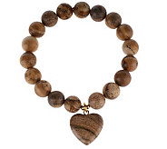 Lee Sands Picture Jasper Heart Stretch Bracelet - J315046