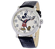Disney Mens Vintage Mickey Watch w/ Black Leather Strap - J315546