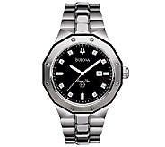 Bulova Mens Black Diamond Dial Bracelet Watch - J316546