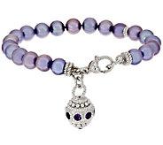 Judith Ripka Sterling Cultured Pearl Bracelet with Gemstone Charm - J317746