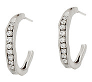 Vicenza Silver Sterling 1 Diamonique J-Hoop Earrings - J319746